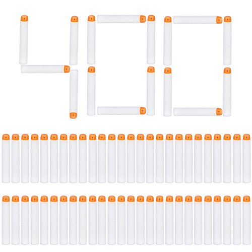 Little Valentine 400 Pcs Dart Refill Pack for Nerf N-Strike Elite Modulus Glow at Dark Bullets - White