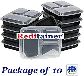 Reditainer 3-Compartment Microwave Safe Food Container with Lid/Divided Plate/Lunch Tray with Cover, Black, 10-Pack