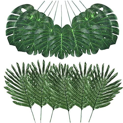 TongICheng Selva Hojas de simulación Artificiales Hojas de Palma Falso Tropical Plant Stems de Hawai Hojas Verdes 48PCS