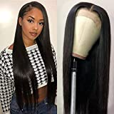 Muokass 4x4 Lace Front Wigs Straight Hair Brazilian Virgin Human Hair Lace Closure Wigs For Black Women 150% Density Pre Plucked With Elastic Bands Natural Color Hairline (24, straight wig)