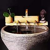 CONSUNDYTT Fuente de jardín, Fuente de bambú para Exteriores - Decoración de jardín Japonesa - Boca Decorativa de Juego de Agua con Bomba Decoración de jardín, 100% Hecho a Mano,30cm