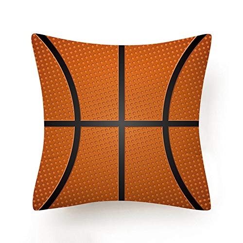 MWMG Fundas para Cojines,Creativo Naranja Simulación Baloncesto Lunares Rayas Divertido Suave Comfye Doble Cara Impresión Funda De Cojín Cuadrado 18 X 18 Pulgadas para Sofá Coches Sala De Estar Dormi