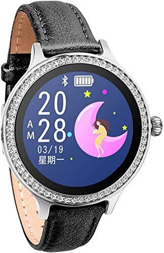 JSL Reloj inteligente para mujer, pulsera de actividad con monitor de ritmo cardíaco, presión arterial, deportivo, reloj inteligente para mujer, fácil de usar, Sier Upscale/oro rosa, cuero negro