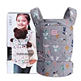 Bebamour Baby Doll Carrier for Kids Front and Back Carrier Original Cotton Baby Carrier for Doll for Boys & Girls(Grey Animal)