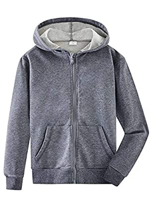 Spring&Gege Youth Solid Full Zipper Hoodies Soft Kids Hooded Sweatshirt for Boys and Girls Size 7-8 Years Oxford