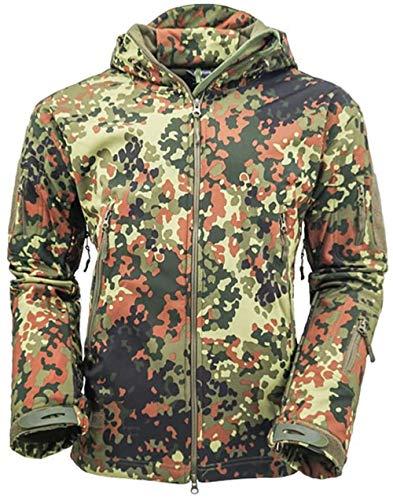 OLOEY Herren Tactical Softshelljacke Camouflage Jagdjacke Wasserdicht Winddicht Military Funktionsjacke Winter Warm Innenfutter Regenjacke Skijacke (GA Camo,M)