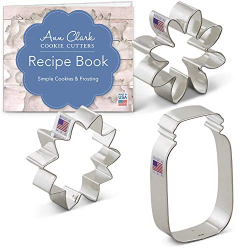 Ann Clark Cookie Cutters 3-Piece Summer Flowers Cookie Cutter Set with Recipe Booklet, Sunflower, Daisy and Mason Jar