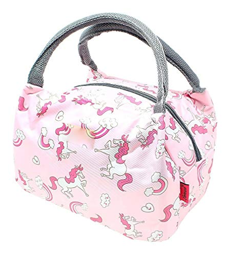 G4GIFT Cute Small Unicorn Print Lunch Bag for Women Stylish Lunch Tote Bag Insulated Lunch Bag (Pink) (Pack of 1)