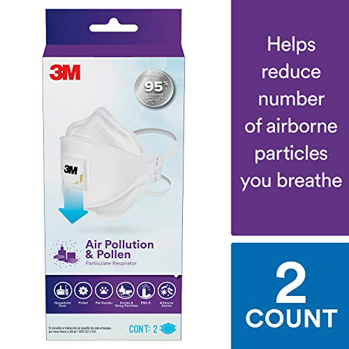 3M Air Pollution & Pollen Particulate Respirator, N95, Designed for Smoke and Smog Particles, 2 Pack, Adult