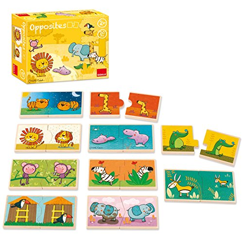 Goula 10 puzzles 2 piezas madera animales selva