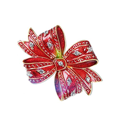 Muur voorkant Legering Rode Boog Tie Crystal Broches Strass Bruiloft Boeket Broche Pin met Zirkoon Decoratie voor Vrouwen