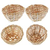 POPETPOP 4Pcs Natural Bamboo Handmade Bird Nest with Hook - Bird House for Resting Feeding Breeding - Bird Cage Accessories for Parakeets Parrots and Small Animals