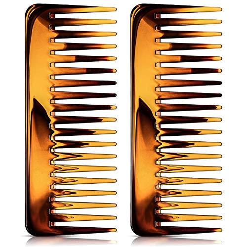 Groß Haarentwirrung Kamm Breiter Zahnkamm für Lockiges Haar Nasses Trockenes Haar, Kein Griff Detangler Kamm Styling Shampoo Kamm (Braun)