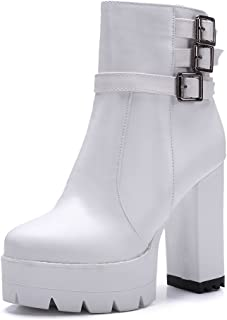 Womens Chunky Heels Platform Buckle Imitated Leather Boots