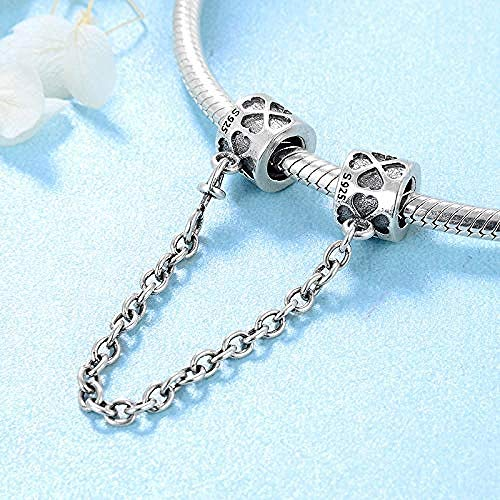 Charm Kralen,925 Sterling Zilveren Kraal Klavertje Vier Veiligheidsketting Charm Diy Fit Originele Charms Armband Mode-Sieraden