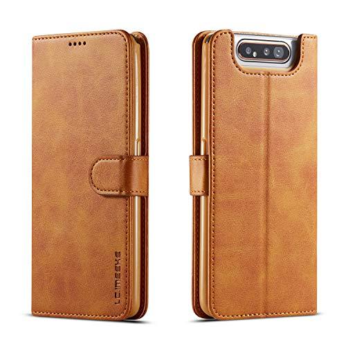 yanzi Funda Samsung Galaxy A80 Funda Carcasa Silicone Case Samsung A80 Funda Protectora Amarillo móvil Cover Libro Caso Cubierta Magnética Billetera Cuero Samsung A80 Carcasa