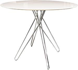 Meubletmoi tavola Rotonda 90cm Bianca Stile Contemporaneo épuré Vintage–Piede Design Cromato–ikone
