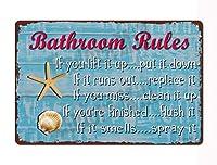 ビーチバスルームルール-8インチx12インチレトロレトロ金属スズマークヒトデ貝殻バスルームルール匂いがすればスプレービーチマーク家とバスルーム壁装飾芸術
