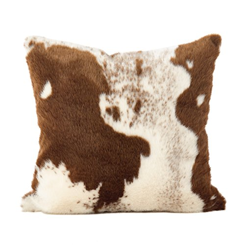 SARO LIFESTYLE 471.BR18S Lait Design Urban Faux Cowhide Poly Filled Pillow, 18', Brown