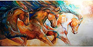 Faicai Art Wild to Run Horses Paintings Canvas Prints Wall Art Colorful Impressionism Abstract Animal Wall Decor HD Printings for Modern Home Deoration Living Room Office Wooden Framed 24