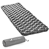 RikkiTikki Premium Lightweight Inflatable Sleeping Pad - Compact Camping Mat for Sleeping - Best Air Camping Mattress Pad for Backpacking, Camping, Hiking (Grey)