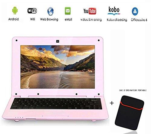G-Anica Netbook Ordenador portátil Ultrabook con Android 4.4, pantalla de 10,3pulgadas (HDMI, Wi-Fi, Ethernet, 1,5GHz, 512MB + 4GB), incluye bolsa de ordenador portátil rosa Rose