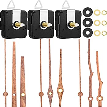 3 Pieces Long Shaft Clock Movement with 3 Types of Walnut Wood Clock Hands Mechanism with Pasters Hooks Clock Movement Replacement Kit Suitable for Clock  Brown Pointer,Fit for 12 Inch Clock