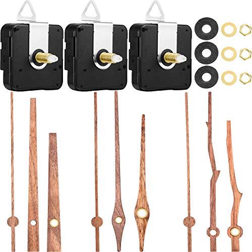 3 Stücke Quarz Uhrwerk mit 3 Typen von Walnuss Holz Uhrzeiger Uhrwerk Ersatz Kit Geeignet für 12 Zoll Uhr (20 mm)