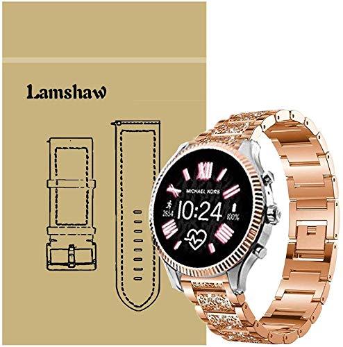 SkyBand Diamante de imitación Metalica Acero Moda Correas para Reloj Inteligente Michael Kors Access Lexington 2 (20mm, Oro Rosa)
