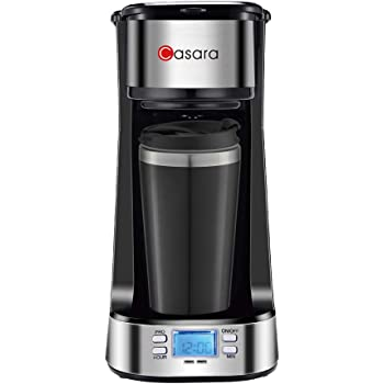 Casara Single Serve Coffee Maker- with Programmable timer and LCD display, Single Cup Coffee Maker with 14 oz. Double-wall Stainless Steel Travel Mug(INCLUDED) and Reusable Filter,Compact Personal Coffee Maker