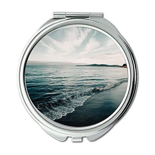 Yanteng Spiegel, Make-upspiegel, klarer Himmel Strand Kaliforniens, Taschen-Spiegel, beweglicher Spiegel