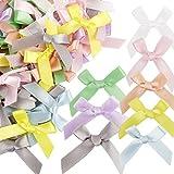 200pcs Lazos de Cinta para Regalo 4 x 4cm Lazos pequeños para Decoración Feistas Cumpleaños Boda Manualidades DIY Pelo Envolver Regalo Colores Claros