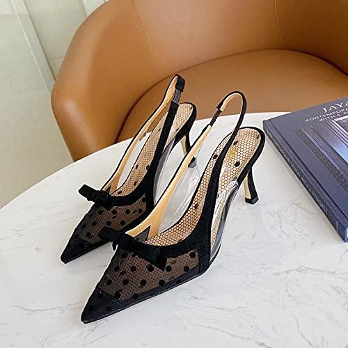 ZXQYLFLY Zapatillas casa Mujer,Sandalias de Bowknot con Lunares de Estilo de tacón Alto de tacón Alto.-Negro_Culo