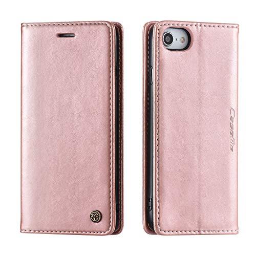 UEEBAI Funda de teléfono móvil para iPhone 6 Plus 6S Plus, funda de piel sintética de poliuretano termoplástico suave, con tarjetero, función atril, cierre magnético, color oro rosa