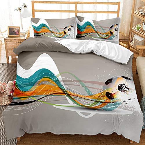 Bedclothes-Blanket Juego de Cama Matrimonio,Dibujo Digital 3D Bosquejo de 3 Piezas Ropa de Cama de 3 Piezas Fútbol-1_200 * 200 cm