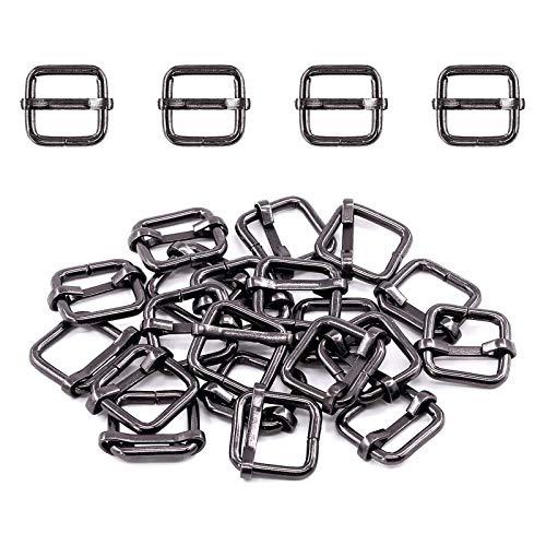 Swpeet 60Pcs 1/2 Inch - 13mm Gun-Black Metal Rings Rectangle Adjuster Triglides Slides Buckle, Roller Pin Buckles Slider Strap Adjuster Keychains for Belt Bags DIY (Gun-Black, 1/2 Inch)