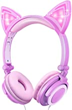 Unicorn Kids Cat Ear Headphones LED Light Up Earphone Wired Adjustable Kids Headband Earphone Foldable Over On Ear Game He...
