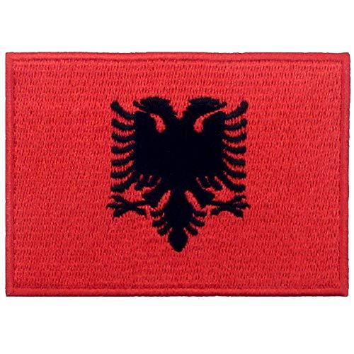 Albanien Flagge National Bestickter Aufnäher zum Aufbügeln/Annähen