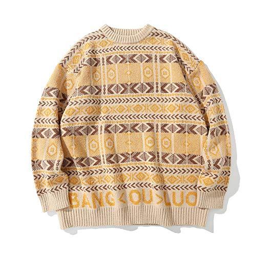 Suéteres para Hombres Otoño e Invierno Moda Personalidad Carta Estampado Pullover Street Fashion Loose Casual All-Match Hip-Hop Suéter de Manga Larga XL