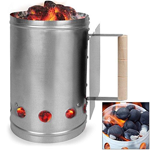 Kohlestarter Grillstarter XXL Stahl Anzündkamin mit Griff und Hitzeschild 17 x 17 x 27,5 cm ✔ stabiler Griff mit Hitzeschild ✔ mehrere Belüftungsöffnungen