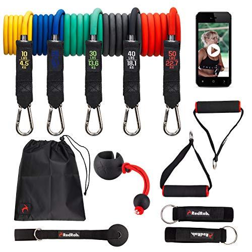 RED RAB Resistance Bands Set perfektes Fitness I Fitnessbänder mit Weltneuheit Flexi [Verbessertes Konzept] I Widerstandsband mit hochwertigem Karabinerhaken im Set für optimales Workout