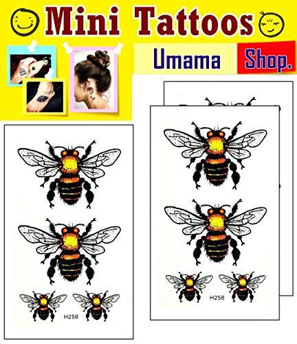 Umama Lot of 3 Mini Tattoos Cute Bee Tattoos Cartoon Fancy Yellow Bumble Bee Temporary Tattoo Sticker 3D Waterproof Transfer for Men Women Make up Body Fake