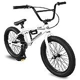 Micargi MBX Cape Sidewalk BMX Bike for-Kids, Children and Beginner-Level to Advanced Riders, 20-inch Wheels, Hi-Ten Steel Frame, Micro Drive 25x9T BMX Gearing (White)