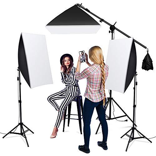 Heorryn Kit di illuminazione softbox da 1600 W, per studio fotografico professionale, con supporto regolabile da 2 m e lampadina LED da 5500 K, per ritratti video e ritratti (3 Pack)