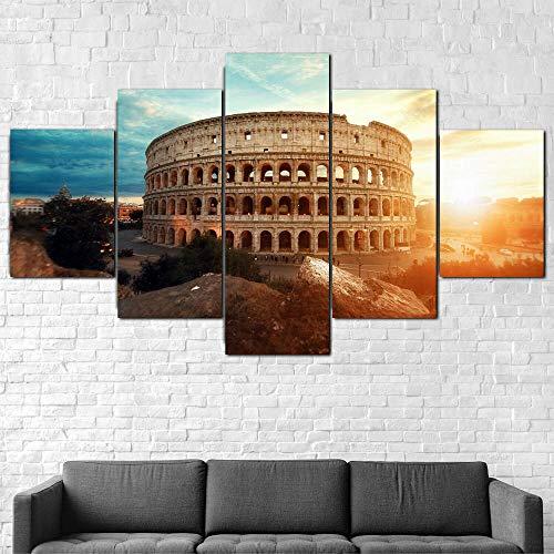 VKEXVDR Coliseo Romano al Atardecer 5 Panel Lámina del Paisaje del Arte impresión en Lona Cuadros de la Pared de la Foto,para el hogar decoración Moderna impresión