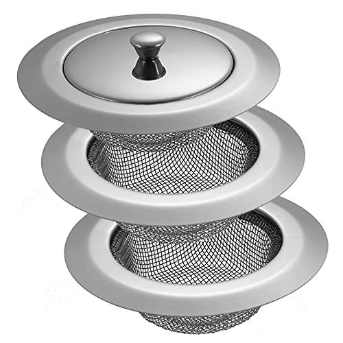 Fingertoys 3 Stück Abflusssieb Edelstahl mit Saugnap, Badewannen Haarablauffilter Sieb, Ideal für Küchen Waschbecken,11.3cm