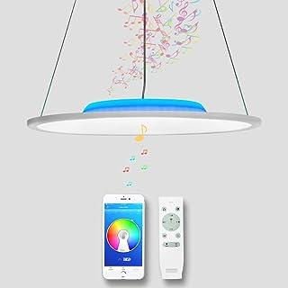 CHYSONGOODS LED Lustres Lampe pendante Avec Haut Parleur Bluetooth, Telecommande,Couleur Changeante,Luminosité Réglable,Su...