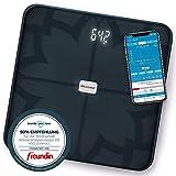 Medisana BS 450 connect, digitale Körperanalysewaage 180 kg, schwarze Personenwaage zur Messung von Körperfett, Körperwasser, Muskelmasse und Knochengewicht, Körperfettwaage mit Körperanalyse App -