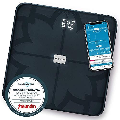 Medisana BS 450 connect báscula analítica digital de 180 kg, báscula personal para medir la grasa corporal, el agua corporal, la masa muscular, el peso de los huesos, báscula de grasa corporal con app