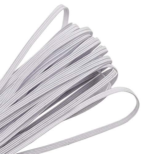 ZAKASA 10 Metri Elastico Piatto 3mm, bianca Elastico Corda per Cucito e Artigianato Maglieria Fai da te